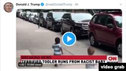 Ispod tweeta Donalda Trumpa Twitter je stavio oznaku da je riječ o medijskoj manipulaciji
