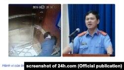 Hình ảnh nghi phạm Nguyễn Hữu Linh ôm hôn một bé gái trong thang máy (trái) ở chung cư Galaxy 9, TP HCM, qua 1 camera an ninh được đưa lên mạng xã hội hôm 1/4, và hình ảnh ông Linh lúc đang đương chức ở VKSND TP Đà Nẵng (phải).