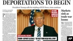 A portion of a satirical front page of the Boston Globe published on the newspaper's website, April 9, 2016. The paper's editorial board used the parody to express its uneasiness with a potential Donald Trump presidency.