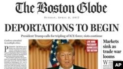 Halaman depan satiris harian The Boston Globe edisi 9 April 2016.