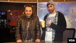 Parazit co-creators Kambiz Hosseini and Saman Arbabi on the set of their program.