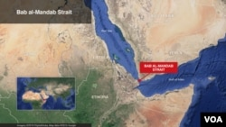 Map of Bab al Mandab Strait off southwestern Yemen