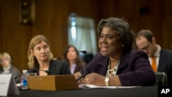 File - U.S. Assistant Secretary of State for African Affairs Linda Thomas-Greenfield, right, testifies on Capitol Hill.