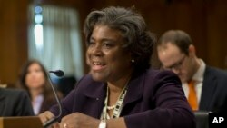FIL E- U.S. Assistant Secretary of State for African Affairs Linda Thomas-Greenfield, shown testifying on Capitol Hill in January 2014.
