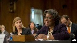 U.S. Assistant Secretary of State for African Affairs Linda Thomas-Greenfield, right, shown here at a hearing on Capitol Hill in January 2014, has called for IGAD member states to send troops to South Sudan to help police a ceasefire that has already been violated.