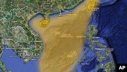 Vùng màu vàng trên bản đồ này là vùng Bắc Kinh tuyên bố thuộc chủ quyền trên Biển Ðông.
