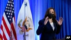 Phó Tổng thống Hoa Kỳ Kamala Harris phát biểu vào ngày 10/08/2021 ở Washington. (AP Photo/Patrick Semansky)