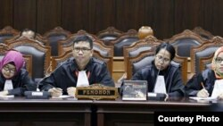 Suasana sidang judicial review soal batasan usia dalam UU Perkawinan 1974 di Mahkamah Konstitusi, Jakarta, Juni 2015 (Courtesy: Koalisi Perempuan Indonesia).