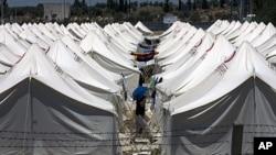 土耳其邊界的敘利亞難民營。