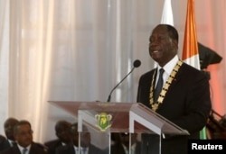 FILE - Ivory Coast President Alassane Ouattara speaks during his inauguration ceremony at the Presidential Palace in Abidjan, Ivory Coast, Nov. 3, 2015.