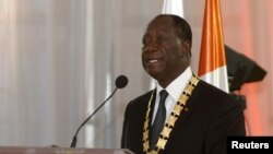 Ivory Coast President Alassane Ouattara speaks during his inauguration ceremony at the Presidential Palace in Abidjan, Ivory Coast, Nov. 3, 2015.