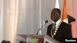 Le président Alassane Ouattara lors de sa prestation de serment, 3 novembre 2015.