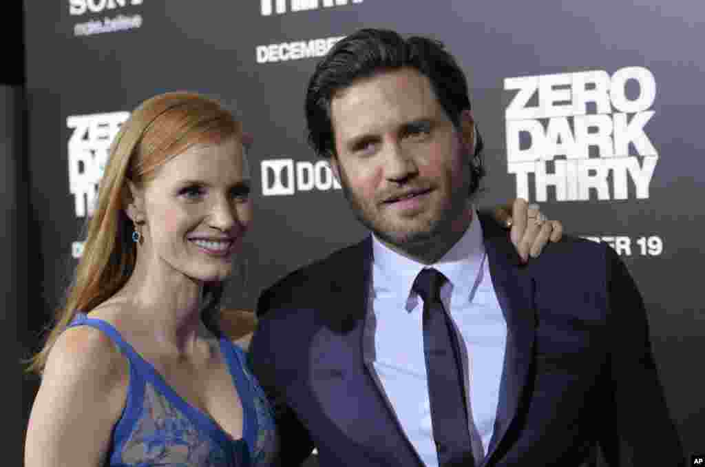 "Actress Jessica Chastain, left, and actor Edgar Ramirez arrive at the premiere of the feature film ""Zero Dark Thirty"" at the Dolby Theatre in Los Angeles, California, December 10, 2012."