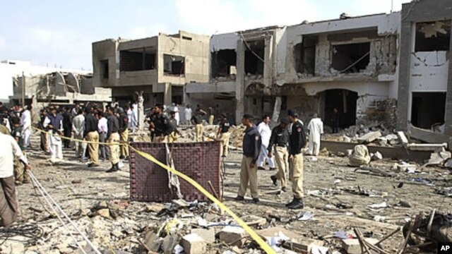 A view of destruction caused by bombing in Karachi, Pakistan , September 19, 2011.