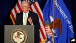 FILE - Attorney General Jeff Sessions speaks during the Justice Department's National Summit on Crime Reduction and Public Safety.