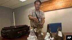 Nhân viên hải quan Thái Lan tịch thu sừng tê trong hành lý của một hành khách tại phi trường Suvarnabhumi ở Bangkok, Thái Lan, 22/6/13