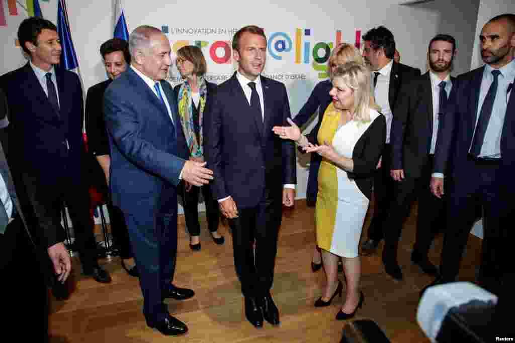 دیدار امانوئل ماکرون،رئیس جمهوری فرانسه با بنیامین نتانیاهو، نخست وزیر اسرائیل و همسرش در پاریس