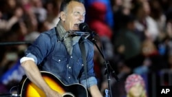 "Bruce Springsteen performs during a Hillary Clinton campaign event at Independence Mall in Philadelphia, Pennsylvania, Nov. 7, 2016. Springsteen questioned whether President-elect Donald Trump ""is simply competent enough to do this particular this particular job."""