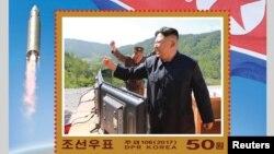 北韓慶祝導彈試射而發行的郵票(資料圖片)
