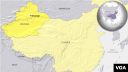 ແຜນທີ່ເຂດເມືອງ Urumqi ແຂວງ Xinjiang ໃນປະເທດຈີນ.