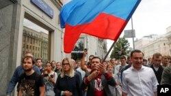 دارالحکومت ماسکو میں 8 ستمبر کو ہونے والے بلدیاتی انتخابات سے قبل حزب اختلاف کی جانب سے احتجاج کیا جارہا ہے۔ (فائل فوٹو)