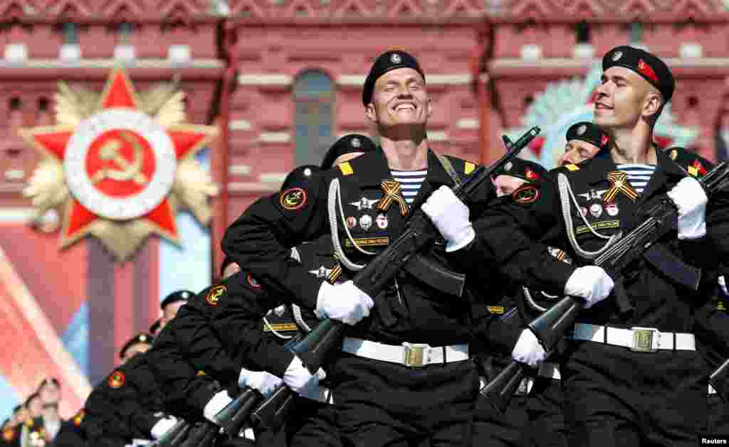 Russian servicemen march during the Victory Day parade, marking the 71st anniversary of the victory over Nazi Germany in World War Two, at Red Square in Moscow, Russia.