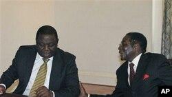 津巴布韦总统穆加贝(右)和总理