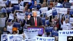 Kandidat Capres AS dari partai Republik, Donald Trump berbicara pada kampanye di Wilkes-Barre, Pennsylvania hari Senin (25/4).