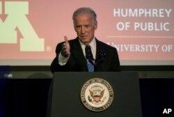 Vice President Joe Biden speaks as he takes part in a tribute to former Vice President Walter Mondale in Washington, October 20, 2015.