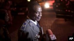 Gen. Gilbert Diendere, who was named leader of Burkina Faso on Thursday, speaks to media in Ouagadougou, Burkina Faso, Sept. 19, 2015.