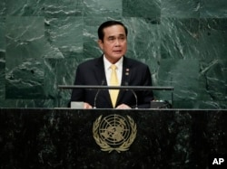 FILE - Thai Prime Minister Prayut Chan-o-cha speaks during the 71st session of the United Nations General Assembly, Sept. 21, 2016, at U.N. headquarters.