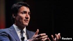 Perdana Menteri Kanada Justin Trudeau berbicara dihadapan the Economic Club of New York di New York, 17 Mei 2018.