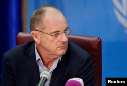 FILE - David Shearer, head of the U.N. Mission in South Sudan, appears at a news conference in Juba, South Sudan, Feb. 22, 2018.