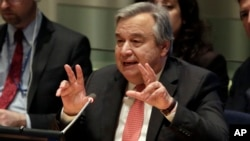 FILE - U.N. Secretary General candidate Antonio Guterres, the former United Nations High Commissioner for Refugees, delivers remarks in the United Nations Trusteeship Council Chamber, April 12, 2016.