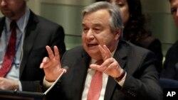 Ứng cử viên Tổng thư ký Liên Hiệp Quốc Antonio Guterres tại Phòng Hội đồng Ủy trị Liên Hiệp Quốc, ngày 12 tháng 4 năm 2016.