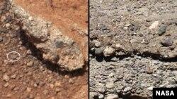 На фотографијата лево што Кјуриозити ја испрати од Марс се гледа (заокружено) заоблено камче. Научниците веруваат дека ова некогаш било карпесто корито на река. Фотографијата десно е од слично корито на пресушена река од Земјата.