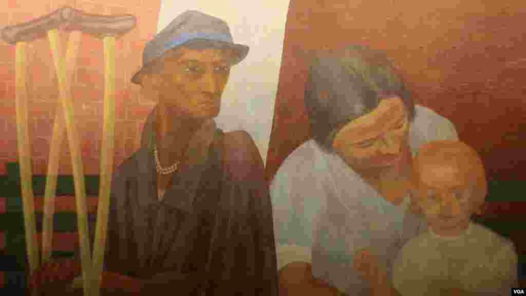 An East Wall panel of the Ben Shahn mural depicts old age