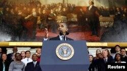 30일 미국의 바락 오바마 대통령이 미 동부 보스턴시에서 최근 논란이 되고 있는 새 건강보험 웹사이트에 대한 견해를 밝혔다.