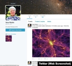Halaman Twitter Vera Rubin, astronom pionir yang menemukan bukti kuat mengenai 'dark matter'.