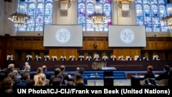 FILE - The International Court of Justice (ICJ), principal judicial organ of the U.N., holds hearings in the case concerning the Application of the International Convention for the Suppression of Financing Terrorism and of the International Convention on the Elimination of All Forms of Racial Discrimination (Ukraine v. Russian Federation) at the Peace Palace in The Hague, March 6, 2017.