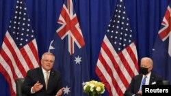 澳大利亞總理莫里森(Scott Morrison, 左)在紐約與美國總統拜登會談(路透社)