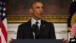 Presiden AS Barack Obama memberikan pernyataan di Gedung Putih (18/9). (AP/Evan Vucci)