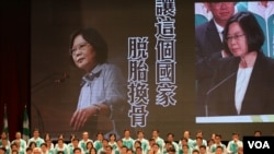 民进党主席蔡英文在演讲 (美国之音杨明拍摄)