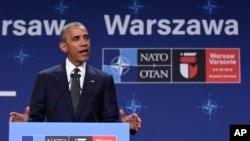 나토 정상회의 참석차 폴란드를 방문한 바락 오바마 미국 대통령이 8일 기자회견을 갖고 미군 병력의 폴란드 배치 계획을 발표했다.