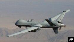 MQ-9 Reaper ເຮືອບິນບໍ່ມີຄົນຂັບຂອງກອງທັບອາກາດຂອງສະຫະລັດ ທີ່ເປັນຊະນິດດຽວກັນກັບລໍາທີ່ສົງໃສ ວ່າ ໄດ້ຍິງລູກຈະຫລວດ 4 ລູກໃສ່ລົດຄັນນຶ່ງໃນເຂດຊົນເຜົ່າ Warziristan ເໜືອໃນປາກິສຖານ.