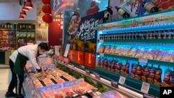 中國一家超市內的冷凍食物。