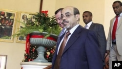Ethiopia's Prime Minister Meles Zenawi arrives at the 16th Extra Ordinary Summit of IGAD Heads of state meeting on Somalia, in Addis Ababa, November 25, 2011.