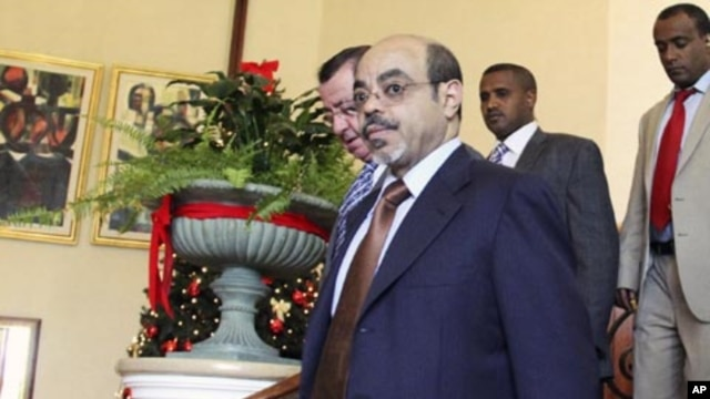 Ethiopia's Prime Minister Meles Zenawi at the 16th Extraordinary Summit of IGAD meeting, Addis Ababa, Nov. 25, 2011.