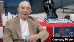 "Retired Brig. General Frederick ""Fritz"" Payne of Palm Desert, the oldest living fighter ace, celebrated his 100th birthday at the Palm Springs Air Museum, July 30, 2011. (Courtesy: Denise Goolsby, The Desert Sun)"
