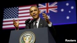 Tổng thống Barack Obama phát biểu tại Đại học Queensland ở Brisbane, Australia, ngày 15 tháng 11, 2014.